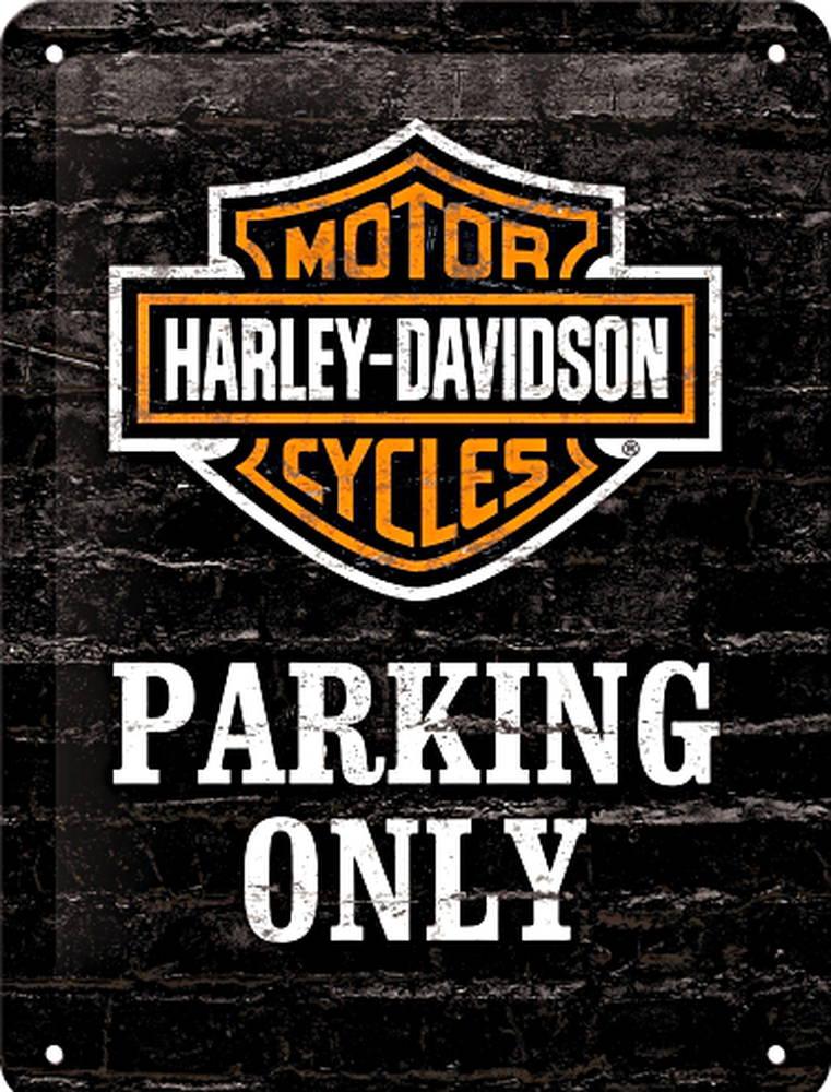 harley davidson parking only blechschilder motorrad. Black Bedroom Furniture Sets. Home Design Ideas